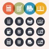 Значки серии круга собрания, калькулятор, блокнот, печать, книга Стоковые Изображения
