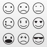 Значки серой эмоции установленные изолированные на предпосылке Современное плоское picto Стоковые Изображения