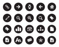 Значки сети, запас значков офиса в черном круге Бесплатная Иллюстрация