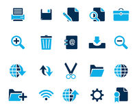 Значки сети и офиса вектора запаса голубые в высоком разрешении Стоковые Изображения RF
