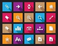 Значки сети и офиса вектора запаса красочные квадратные с тенью в высоком разрешении Бесплатная Иллюстрация