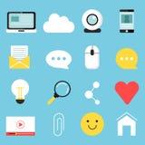 Значки сети установили различных символов для blogging и передавать иллюстрация вектора