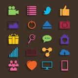 Значки сети установленные в плоский дизайн бесплатная иллюстрация