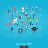 Значки сети 3d образования интегрированные Концепция цифровой сети равновеликая Стоковая Фотография RF