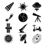 Значки силуэта космоса установленные в плоский стиль Стоковые Фото