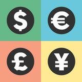Значки символов денег иллюстрация вектора