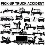 Значки силуэта аварии грузового пикапа Стоковая Фотография RF