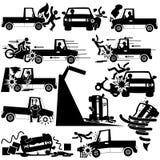 Значки силуэта аварии грузового пикапа Стоковые Изображения RF
