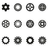 Значки силуэта шестерни иллюстрация вектора