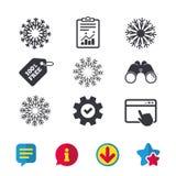 Значки снежинок художнические Кондиционер Стоковая Фотография