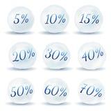 Значки снежного кома с скидкой на белой предпосылке также вектор иллюстрации притяжки corel Стоковые Фото