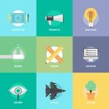 Значки совершенствованих продукций дизайна плоские Стоковое Изображение