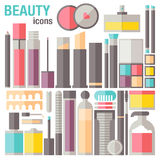 Значки состава красоты плоские Стоковое Изображение