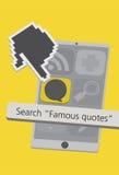Значки сотового телефона технологии с иллюстрацией App цитаты Стоковое Изображение RF