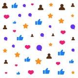 Значки социальной сети над белой предпосылкой Как, комментарий, значки следующих иллюстрация штока