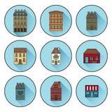 Значки со зданиями построенными в значках дома Парижа плоских линейных r иллюстрация штока