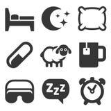 Значки спать установленные на белую предпосылку вектор Стоковое фото RF