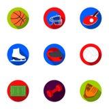 Значки спорта и фитнеса установленные в плоском стиле Большое собрание спорта и фитнес vector символ Стоковое Фото