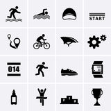 Значки спорта триатлона Стоковое Изображение