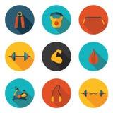 Значки спортзала плоские Стоковая Фотография RF