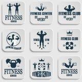 Значки спортзала фитнеса Стоковая Фотография RF