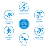 Значки спорт зимы установили, 3 из 4, пиктограммы вектора Стоковое Изображение
