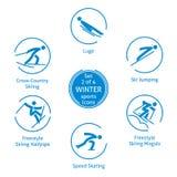 Значки спорт зимы установили, 2 из 4, пиктограммы вектора Стоковая Фотография