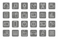 Значки, средства массовой информации, сообщения, видео, компьютер, серый цвет, контур, серая предпосылка иллюстрация штока