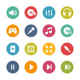 Значки средств массовой информации разбивочные -- Свежая серия цветов Стоковая Фотография RF