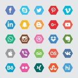 Значки средств массовой информации шестиугольника социальные Стоковая Фотография RF
