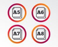 Значки стандарта размера бумаги Символ документа Стоковые Фотографии RF