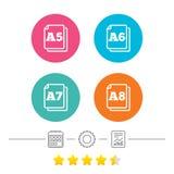Значки стандарта размера бумаги Символ документа Стоковое Фото