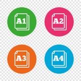 Значки стандарта размера бумаги Символ документа бесплатная иллюстрация