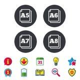 Значки стандарта размера бумаги Символ документа Стоковые Изображения RF
