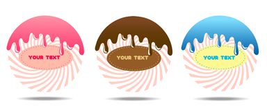 Значки стиля вектора современные установили 3 продуктов конфеты и конфет Значки большие для помадок магазина веб-дизайна и сладос бесплатная иллюстрация