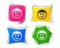 Значки стороны улыбки круга Счастливый, унылый, выкрик вектор иллюстрация штока