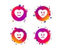 Значки стороны улыбки сердца Счастливый, унылый, выкрик вектор бесплатная иллюстрация