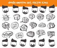 Значки стороны эмоции вектора Стоковое Изображение