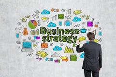 Значки стратегии бизнеса чертежа человека Стоковые Фотографии RF