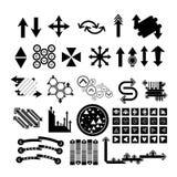 Значки стрелки установили собрания черные символы Стоковые Изображения