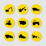 Значки строительных машин установили большой для любой пользы желтый цвет обоев вектора уравновешивания rac померанцовой картины  Стоковая Фотография