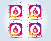 Значки сумки денег Доллар, евро, фунт и иены иллюстрация вектора
