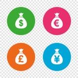 Значки сумки денег Доллар, евро, фунт и иены бесплатная иллюстрация