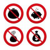 Значки сумки денег Символы бумажника и копилки Стоковое Фото