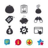 Значки сумки денег Символы бумажника и копилки Стоковая Фотография RF