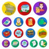 Значки супермаркета и оборудования плоские в собрании комплекта для дизайна Приобретение сети запаса символа вектора продуктов иллюстрация вектора