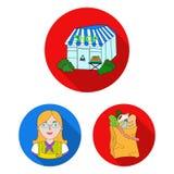 Значки супермаркета и оборудования плоские в собрании комплекта для дизайна Приобретение сети запаса символа вектора продуктов бесплатная иллюстрация