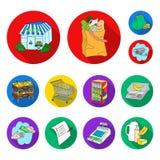 Значки супермаркета и оборудования плоские в собрании комплекта для дизайна Приобретение сети запаса символа вектора продуктов иллюстрация штока