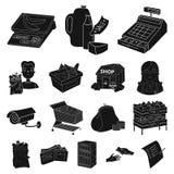 Значки супермаркета и оборудования черные в собрании комплекта для дизайна Приобретение сети запаса символа вектора продуктов иллюстрация вектора