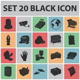 Значки супермаркета и оборудования черные в собрании комплекта для дизайна Приобретение сети запаса символа вектора продуктов иллюстрация штока
